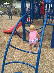 Madeleine can climb some very difficult objects for most 18 month olds