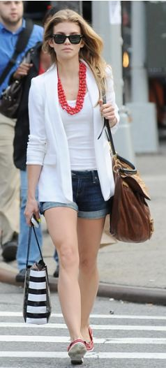 Anna Lynne McCord White Blazer Celebrity Style Fashion
