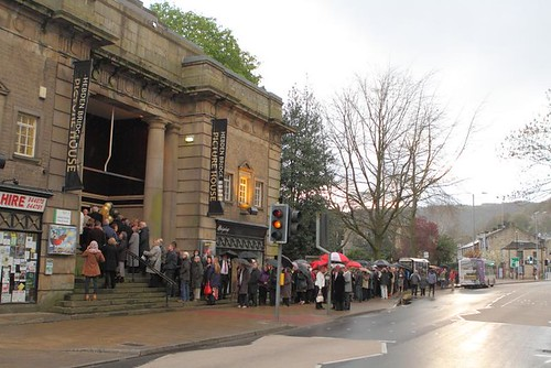 The queue outside Hebden Bridge Picture House