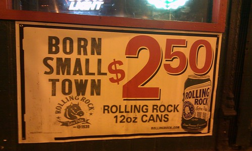 "Rolling Rock says it was ""born small town."" cc @barrymoltz"