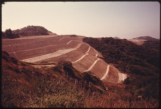 Terraced hillside near Mulholland Drive in the Santa Monica Mountains on the western edge of Los Angeles portends imminent development, May 1975