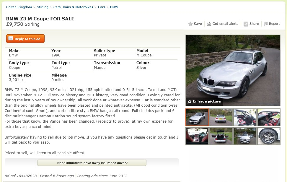 1998 M Coupe | Arctic Silver | Imola/Black | Gumtree Ad Screenshot