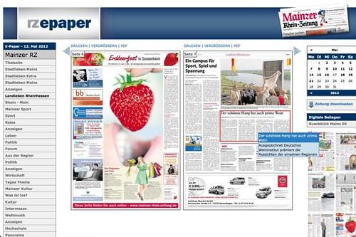 Mainzer Rhein-Zeitung: E-Paper (Quelle: Screenshot)