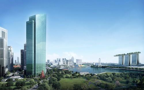 Сингапурский небоскреб One Raffles Place Two с обильным LED-освещением является достойным преемником своего соседа One Raffles Place One
