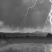 Lightning Striking Longs Peak Foothills 5BW