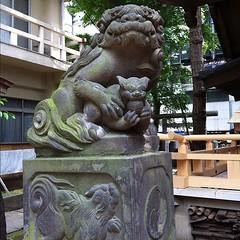 狛犬探訪 鬼王神社は阿吽とも子連れ 子が玉を持ってる