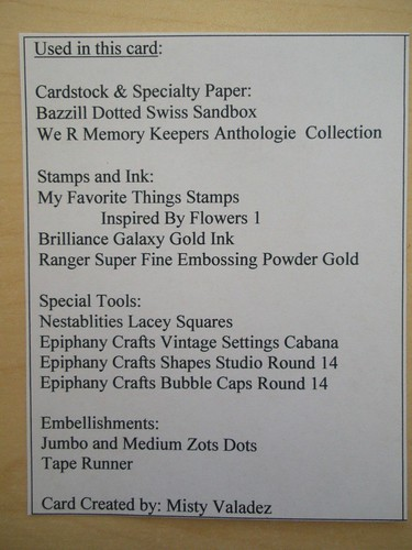 Epiphany Crafts Card Ingrediants