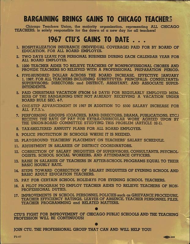 Bargaing Gains to Chicago Teachers 1967