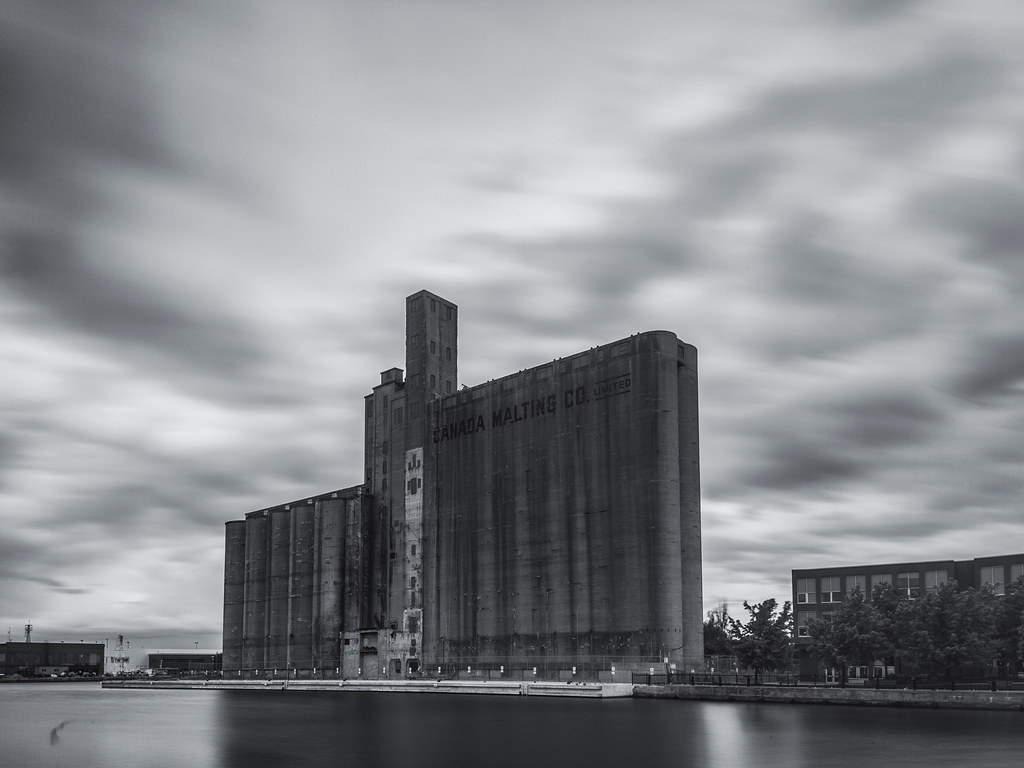 long exposure daytime of canada malting in toronto