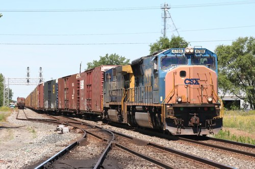 06/13/ 2012 CSX Train Q200 crosses over at Keyser Ave then heads North out of Deshler Ohio by Northeast Indiana Railfan