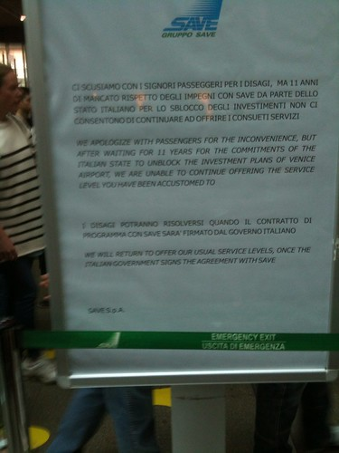 VCE airport apology letter blaming Italian government