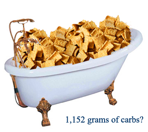 There are approximately 1,152 grams of carbs in a bathtub full of Golden Grahams. That's without taking the plumbing into account.