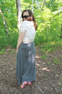 "Crisscross outfit: Crop top with crisscross back from Urban Outfitters, gray jersey maxi skirt, Dolca Vita T-strap sandals, Prada ""Baroque"" sunglasses"
