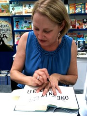 author Katherine Applegate signing my library's copy of THE ONE AND ONLY IVAN