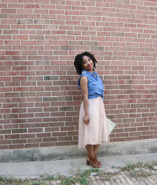 blush skirt and denim shirt 3