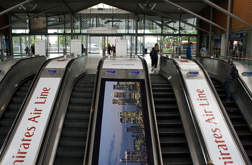 Cable car advertising on the escalators