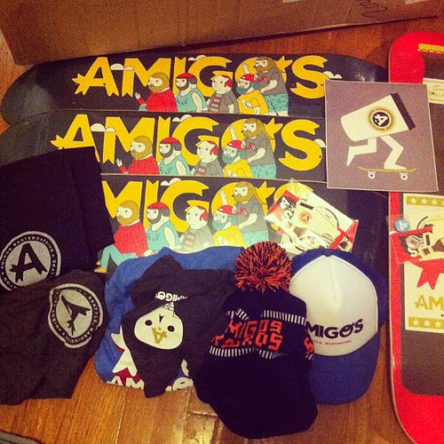 @thumbhead @broianbro @sashabarr @madflare A rad legit package from Amigos Skateboards (www.amigosskateboards.com) thanks dudes by Michael C. Hsiung