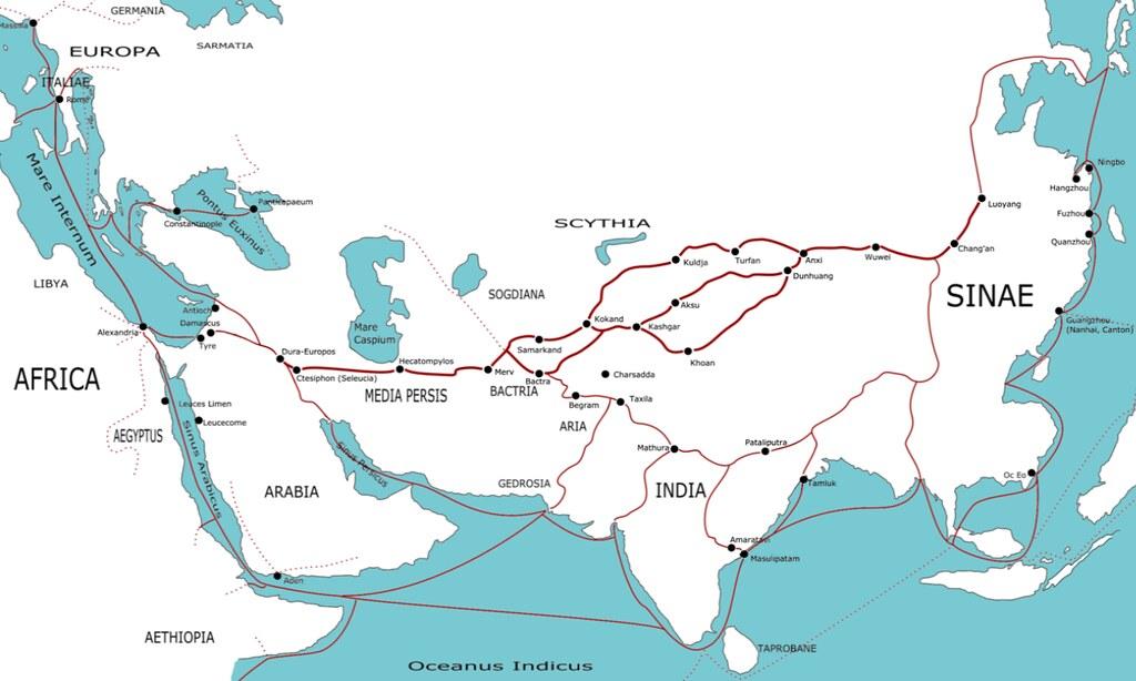 Торговые пути в 1 в. н.э.,
