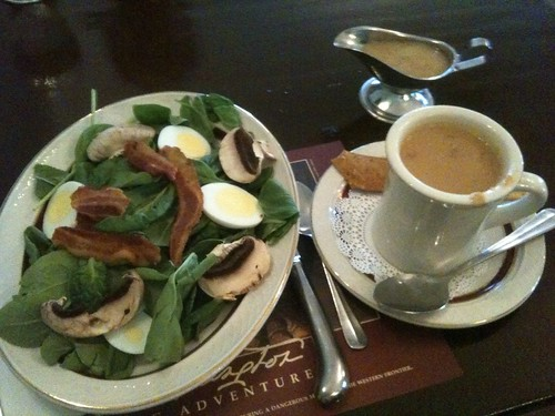 Spinach Salad and Peanut-Chestnut Soup