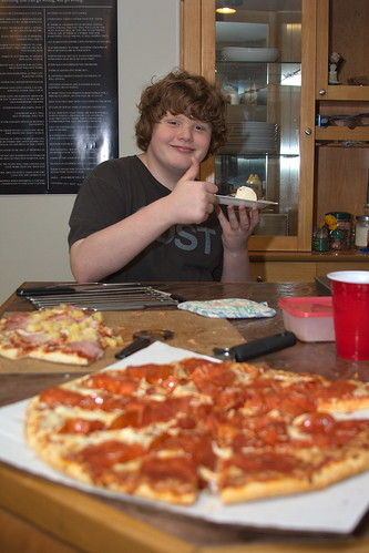 Pizza, ice cream, and a big thumbs up by The Bacher Family