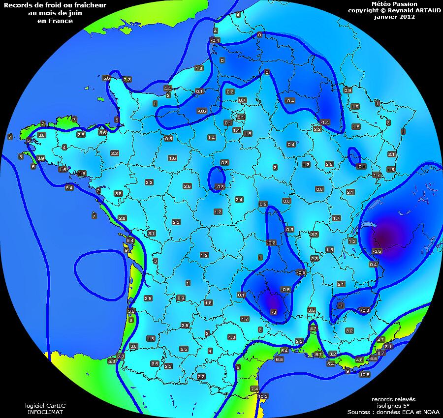 records de froid ou fraîcheur des températures minimales au mois de juin en France Reynald ARTAUD météopassion