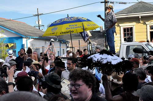 Second Line for Uncle Lionel Batiste on July 13, 2012, outside Sweet Lorraine's.  Photo by Kichea S Burt.