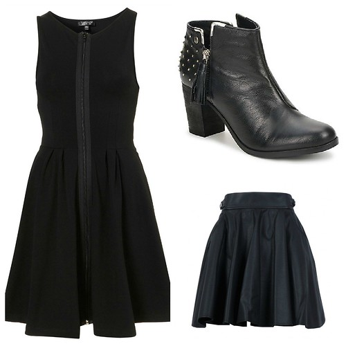 aw 2012 black, leather, topshop zip up dress