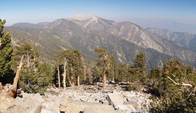 View west toward San Gorgonio Mountain from the summit of Anderson Peak
