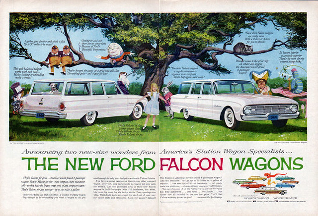 1960 Ford Falcon Wagons ad feat. Alice in Wonderland