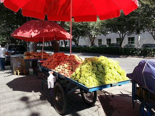 Tons of grapes for sale on the streets of Urumqi
