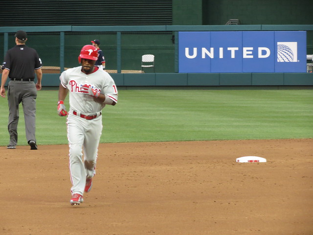 Jimmy Rollins rounding the bases after hitting his second Home Run of the night from Flickr via Wylio
