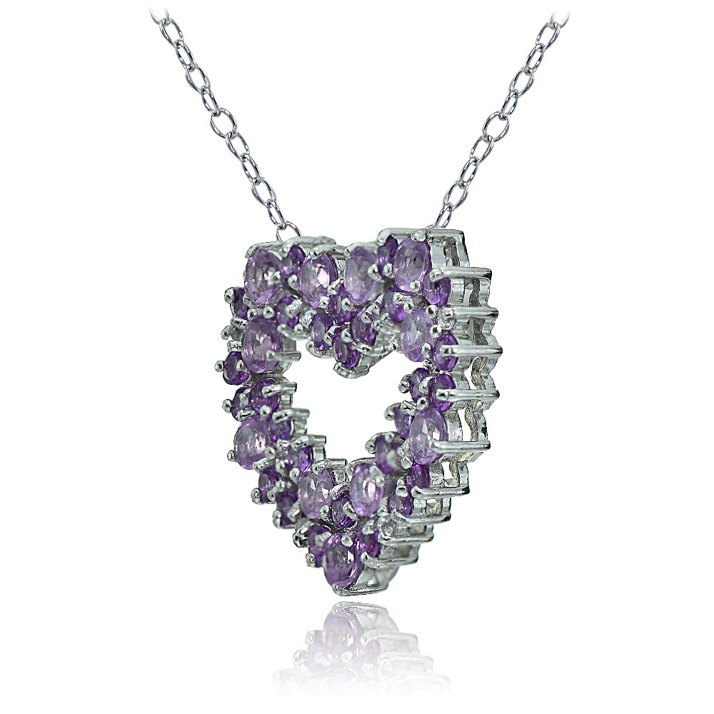 sterling silver amethyst and african amethyst heart