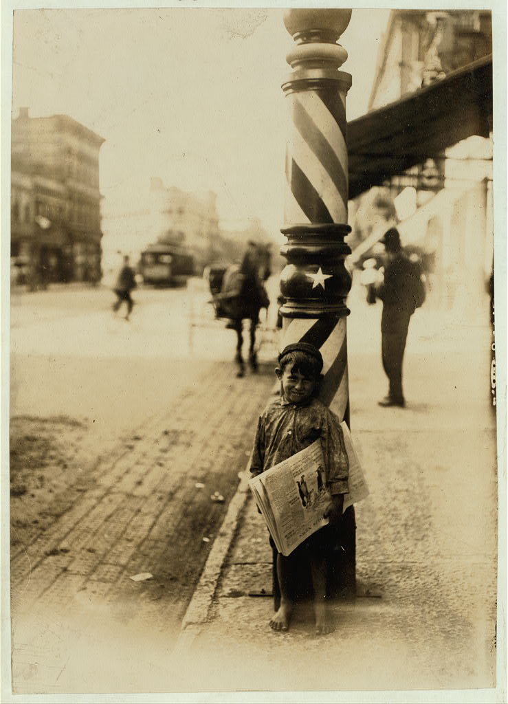 "A Little ""Shaver,"" Indianapolis Newsboy, 41 inches high. Said he was 6 years old. Aug., 1908. Wit., E. N. Clopper. Location: Indianapolis, Indiana"