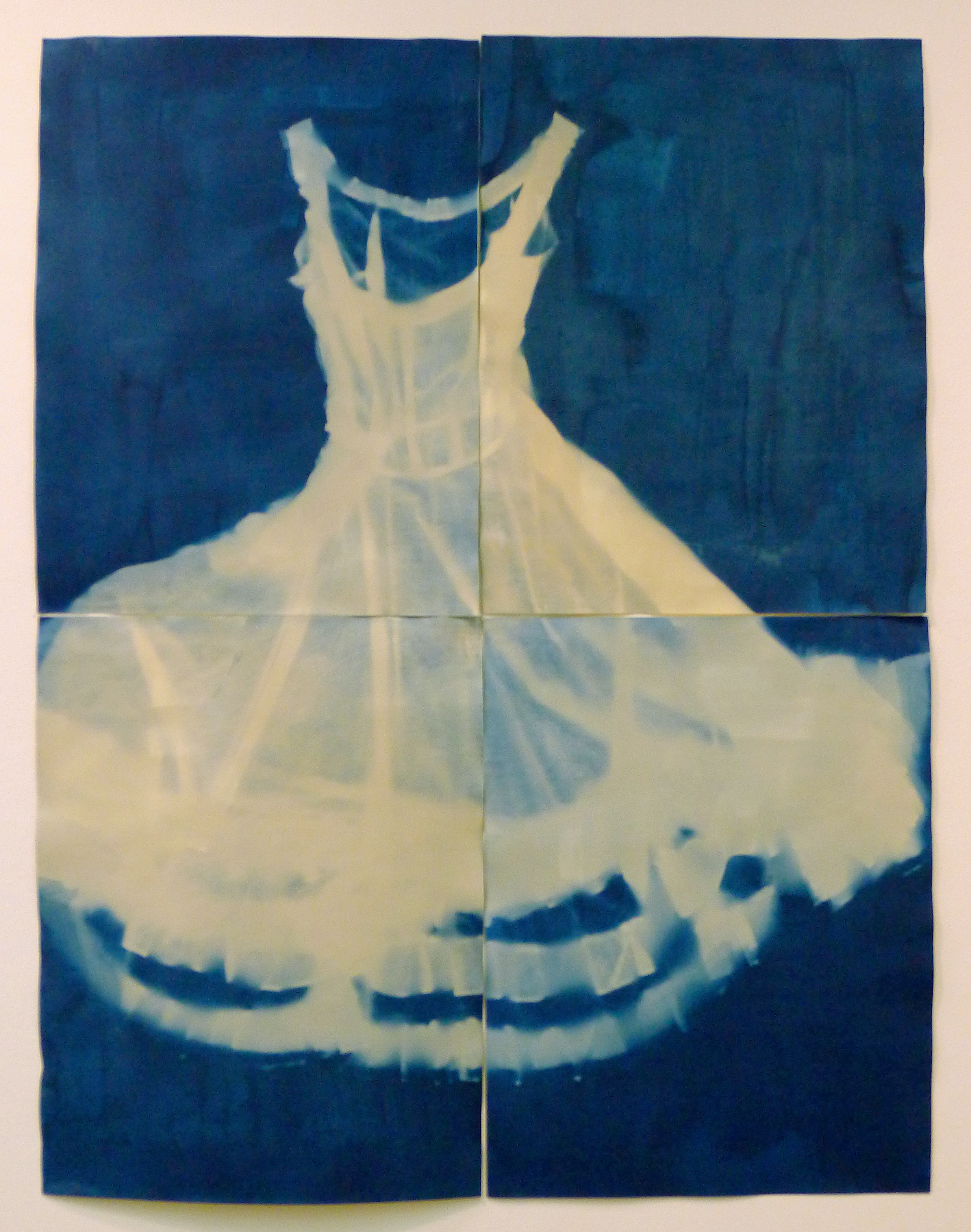 """My Mother's Striped Dress"" by Lucy Capehart. Cyanotype on Paper, 52""x40"", 2011."