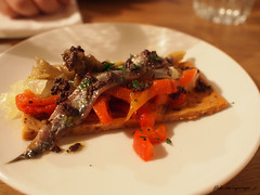 Tramontana Brindisa   Flatbread with peppers and anchovy