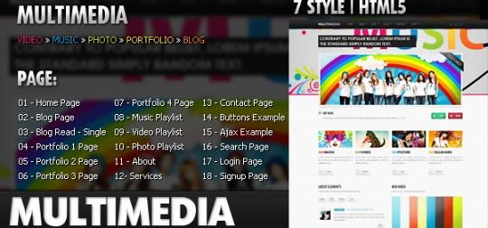 Multimedia 音乐/博客HTML 5/CSS模板