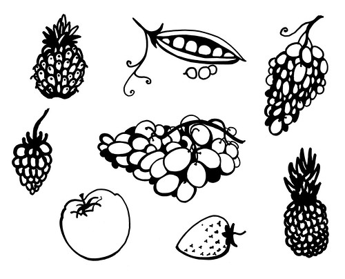 Fruit and Vegetables doodle set , isolated on white