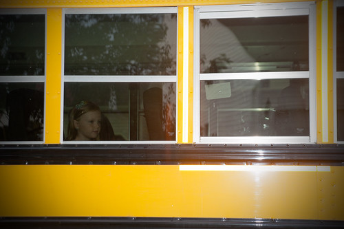 023 Abby on bus to first grade