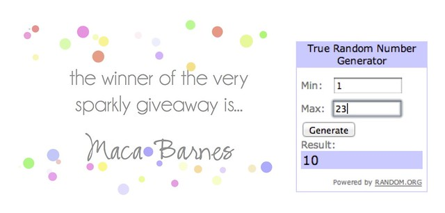winner of sparkly giveaway