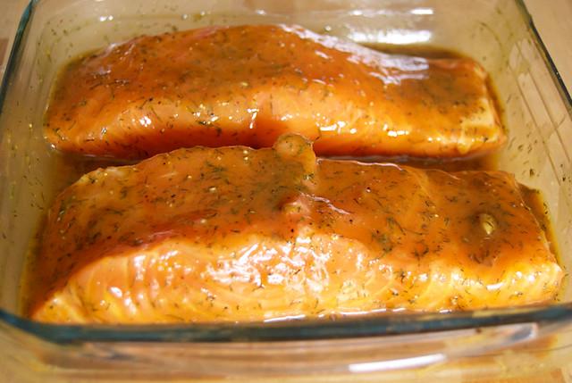 Salmón marinado a la miel