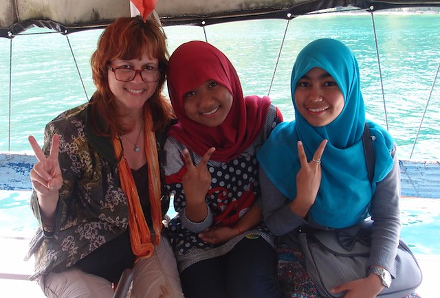 Me and Sumatran kids on class trip