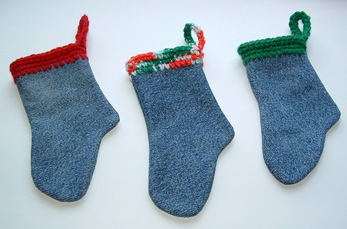Mini Denim Christmas Socks