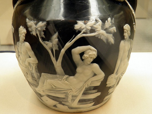 Seated man looking at a recling woman, detail of the side A of the Portland Vase. Cameo-glass, probably made in Italy ca. 5-25 AD