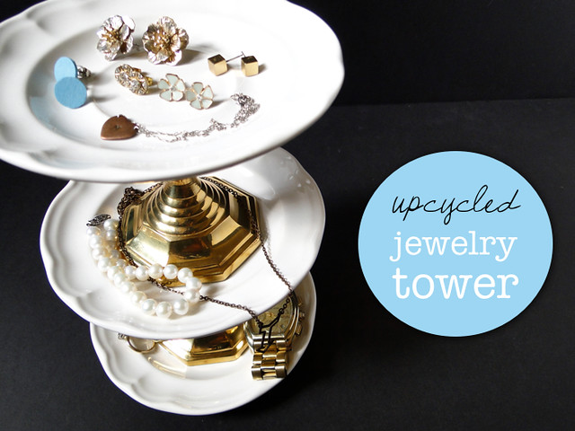 DIY Upcycled Jewelry Tower Tutorial by Fabric Paper Glue for Luri & Wilma