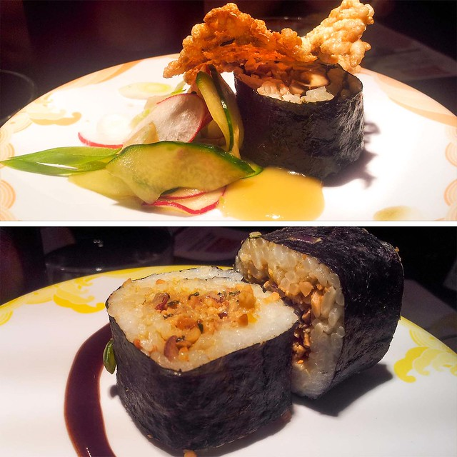 Indian Nut maki sushi and shiitake mushroom maki