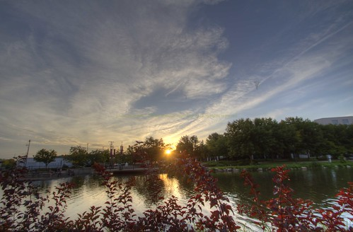 Sunset on the Fox River Waukesha Wisconsin 2012-08-18