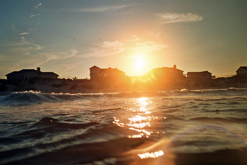 ocean sunset sunlight film beach 35mm waves fuji northcarolina pointandshoot analogphotography obx wp1 canonsureshotwp1