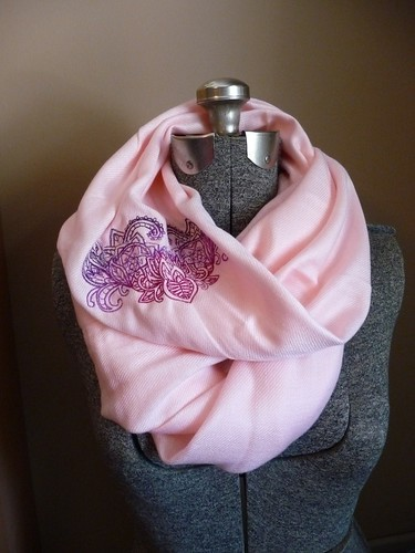 Embroidered Pashmina Infinity Scarf