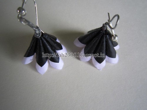 Handmade Jewelry - Paper Cone Earrings (Black and White) (5) by fah2305