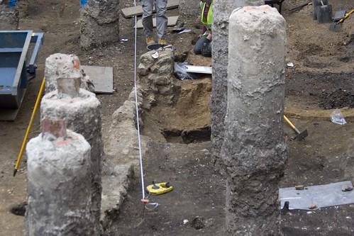 Roman walls between modern foundations